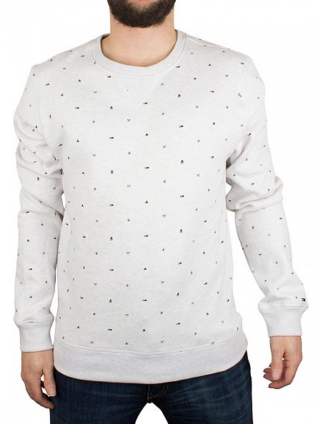 Hilfiger Denim Eget Heather All Over Logo Print Sweatshirt