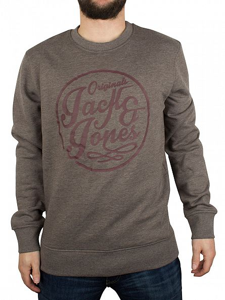 Jack & Jones Grey Melange Manc Graphic Sweatshirt