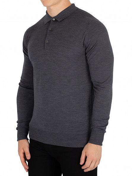 John Smedley Charcoal Cotswold Longsleeved Polo Shirt