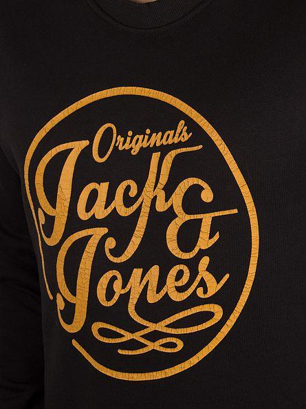 Jack & Jones Black Manc Graphic Sweatshirt