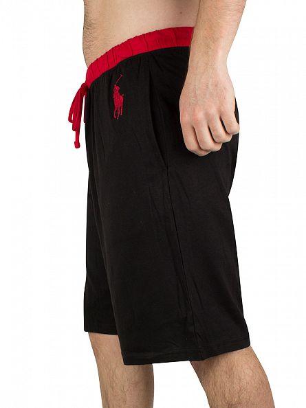 Polo Ralph Lauren Black/Red No 3 Logo Waistband Sleep Shorts