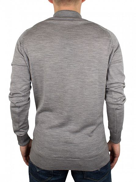 John Smedley Silver Cotswold Longsleeved Polo Shirt