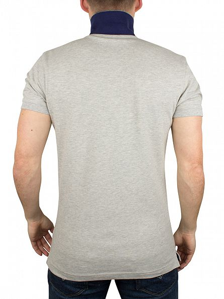 Gant Light Grey Melange Contrast Collar Pique Rugger Logo Polo Shirt