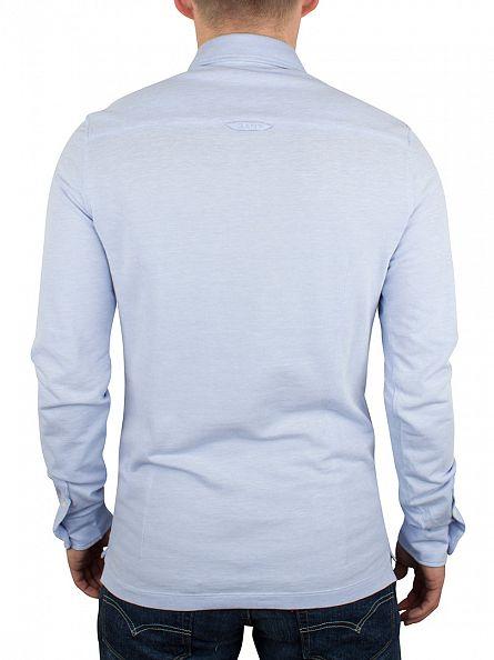 Gant Lavender Blue Oxford Pique Rugger Longsleeved Logo Polo Shirt