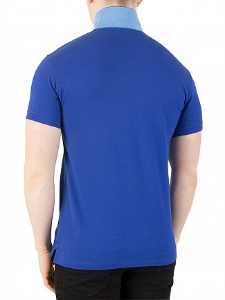 Gant Yale Blue Contrast Collar Pique Rugger Logo Polo Shirt