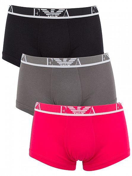 Emporio Armani Black/Grey/Pink 3 Pack Trunks