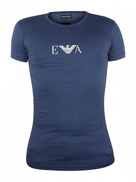 Emporio Armani Avio Blue Crew Neck T-Shirt