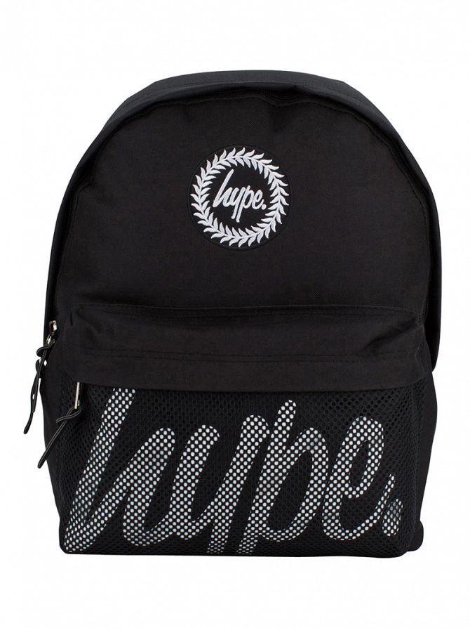 Hype Black Mesh Pocket Logo Backpack
