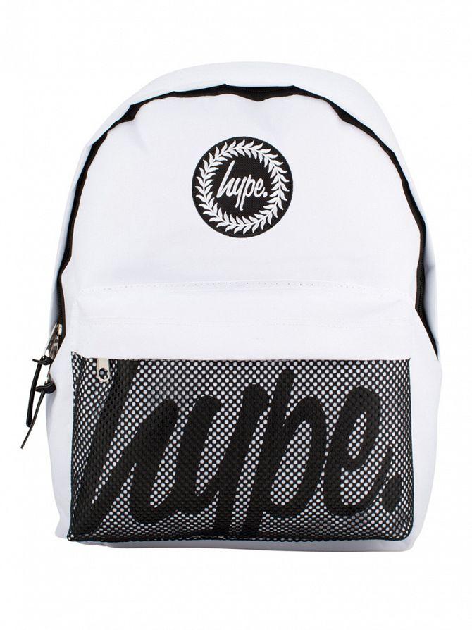 Hype White Mesh Pocket Logo Backpack