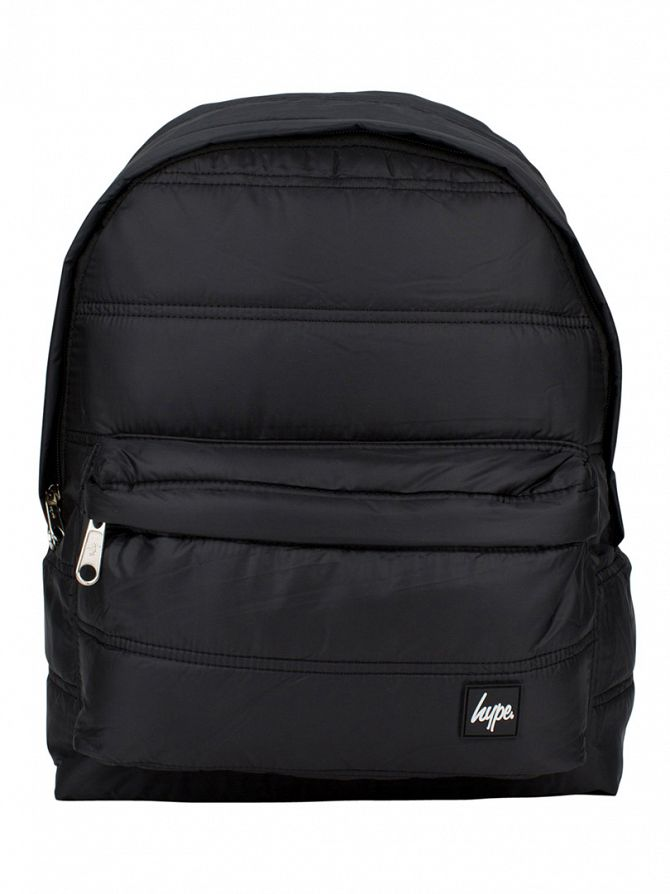 Hype Black Fabric Quilted Logo Backpack