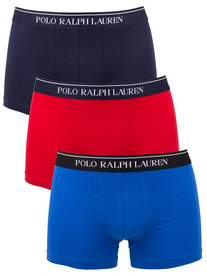 Polo Ralph Lauren Blue/Navy/Red 3 Pack Classic Stretch Cotton Trunks