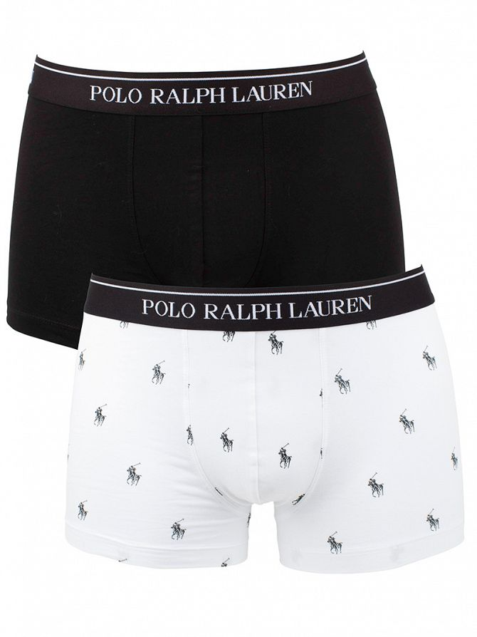 Polo Ralph Lauren White/Black 2 Pack Stretch Cotton Trunks