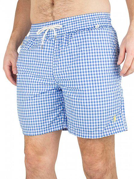 Polo Ralph Lauren Jewel Blue Gingham Checked Traveller Swim Shorts