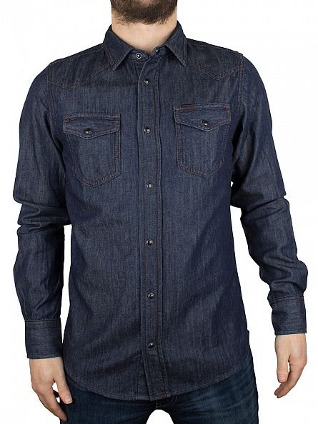 Diesel Blue Denim New Sonora Poppers Shirt
