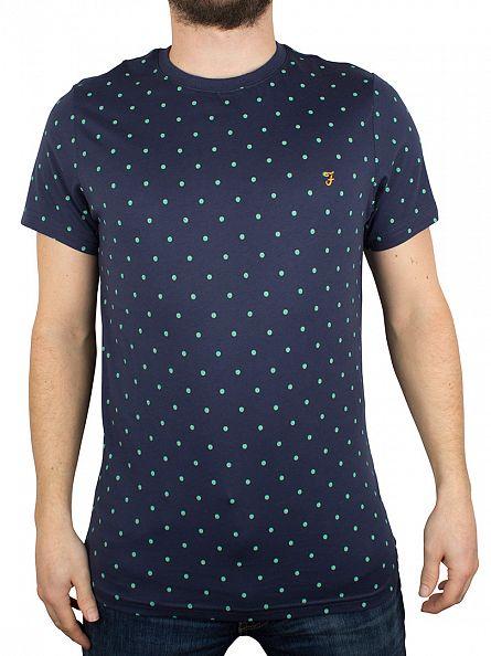 Farah Vintage Ink Blue Bilton Polka Dot T-Shirt