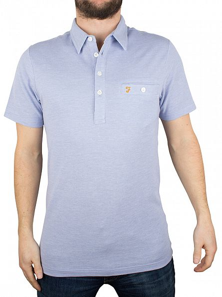 Farah Vintage Polar Blue Tennyson Pocket Logo Polo Shirt