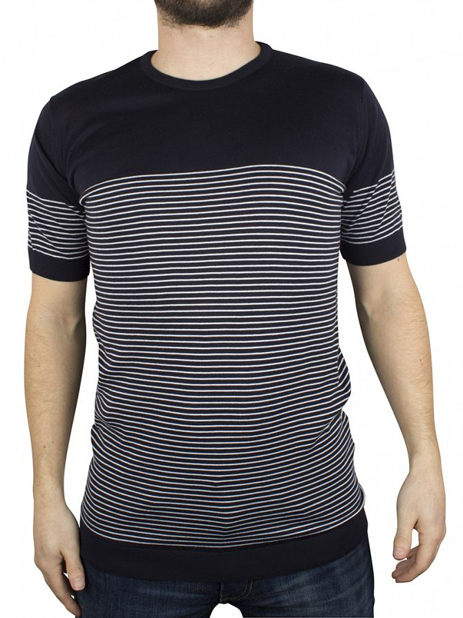 John Smedley Navy Zester Knitted Striped T-Shirt