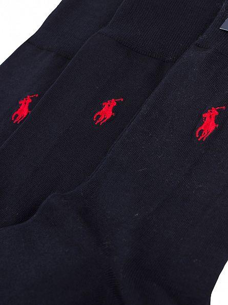 Polo Ralph Lauren Navy SCK Mercerized 3 Pack Logo Socks