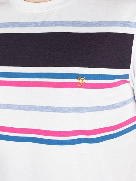 Farah Vintage White Stainton Striped T-Shirt