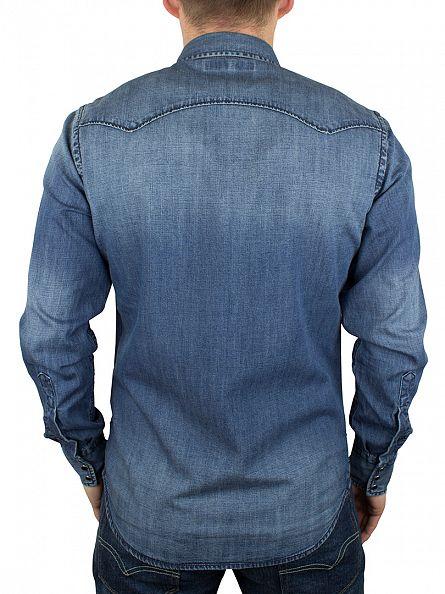 Replay Dark Denim Popper Denim Shirt