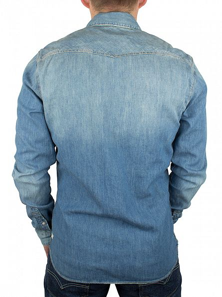 Scotch & Soda Denim Blue Classic Western Popper Shirt