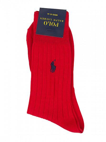 Polo Ralph Lauren Red SCK Egyptian Cotton Logo Socks