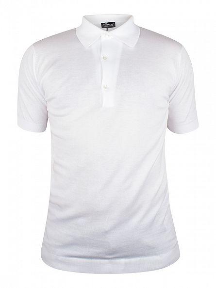 John Smedley White Adrian Polo Shirt