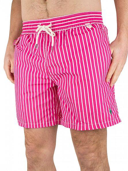 Polo Ralph Lauren Grand Prix Pink Striped Traveller Swim Shorts