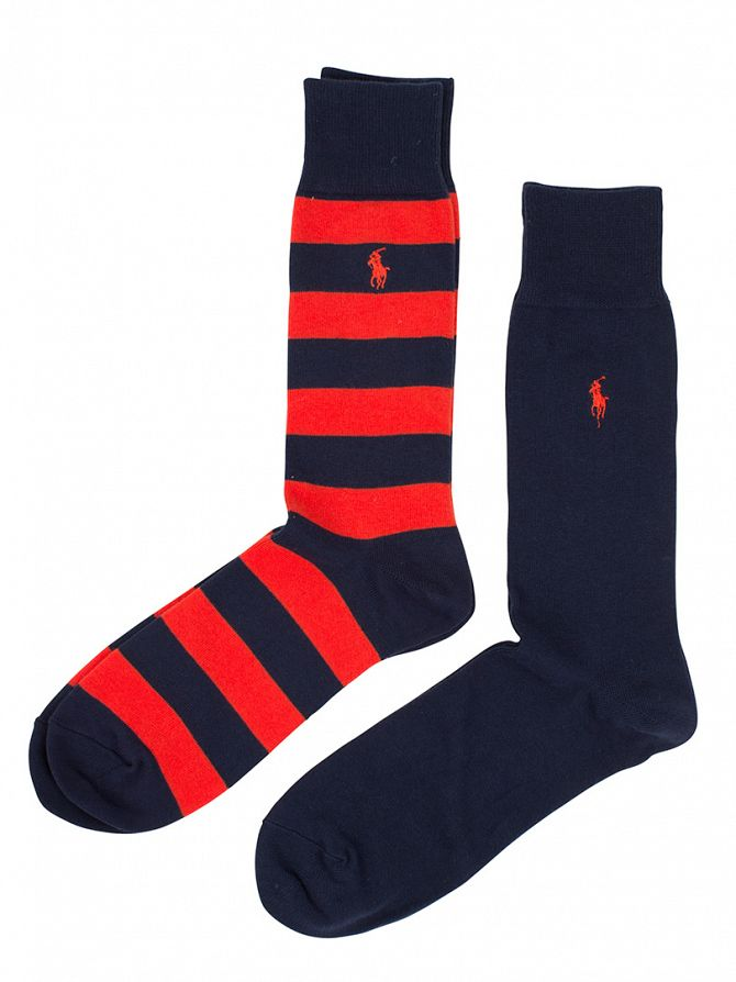 Polo Ralph Lauren Blue/Red 2 Pack Striped & Plain Socks
