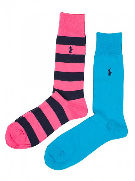 Polo Ralph Lauren Light Blue/Pink 2 Pack Striped & Plain Socks