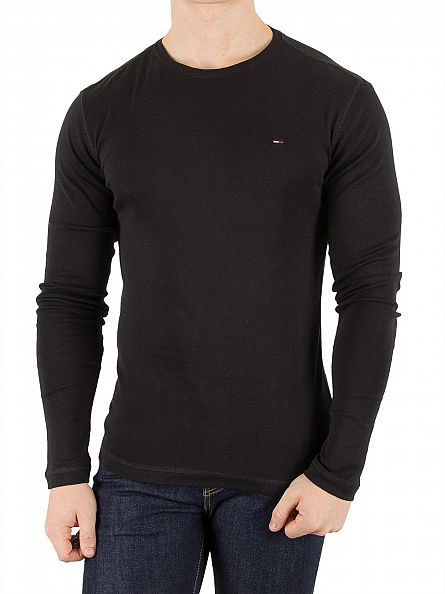 Hilfiger Denim Tommy Black Original Longsleeved Logo T-Shirt