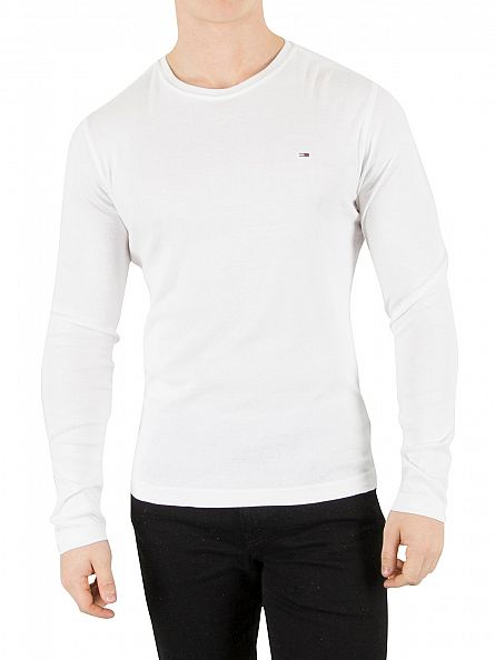 Hilfiger Denim Classic White Original Longsleeved Logo T-Shirt
