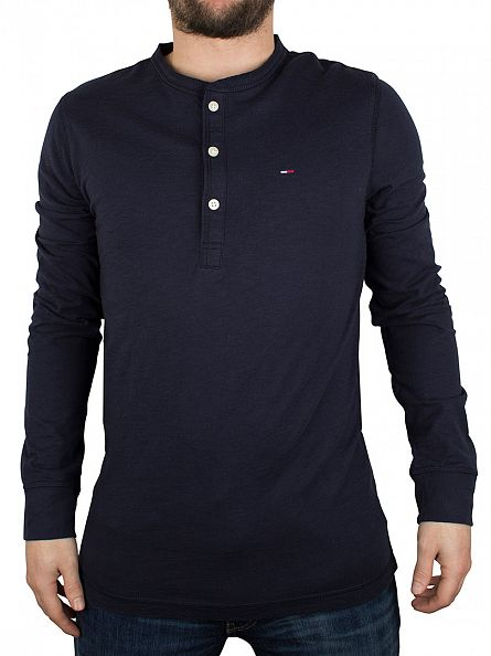 Hilfiger Denim Navy Blazer Basic Longsleeved Henley T-Shirt