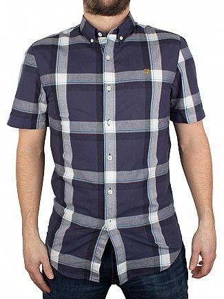 Farah Vintage True Navy Herne Slim Fit Checked Shortsleeved Shirt