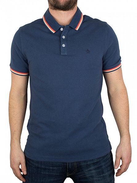 Original Penguin Dark Denim Poly Tipped Slim Fit Athletic Logo Polo Shirt