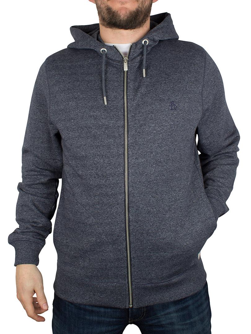 original penguin dark sapphire muline sweat logo zip hoodie