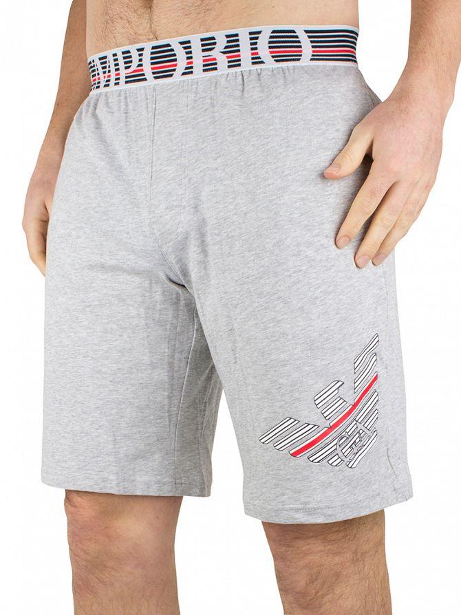 Emporio Armani Grey Melange Large Logo Pyjama Shorts