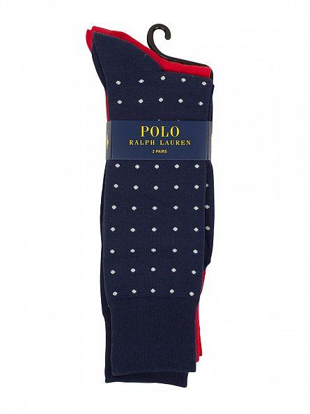 Polo Ralph Lauren Blue/Red 2 Pack Condensed Dot Socks