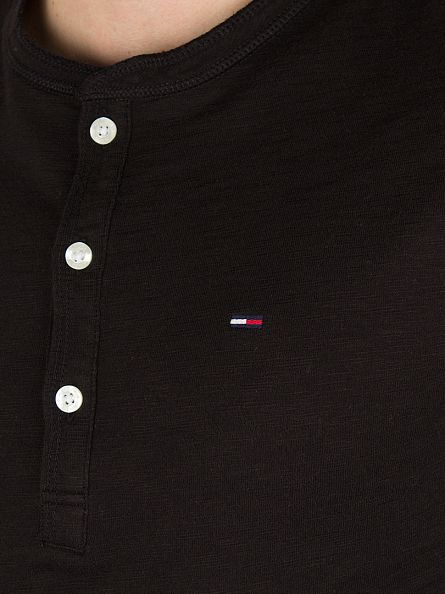 Hilfiger Denim Tommy Black Basic Longsleeved Henley T-Shirt
