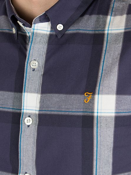 Farah Vintage True Navy Herne Slim Fit Checked Shortsleeved Shirt