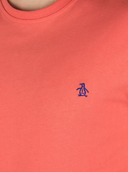 Original Penguin Spiced Coral Pin Point Embroidery Logo T-Shirt