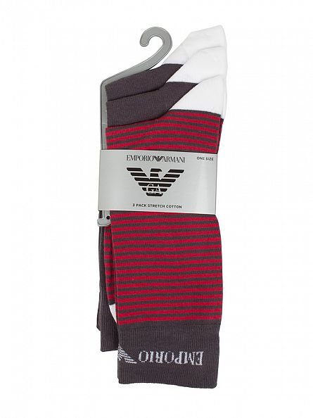 Emporio Armani Grey/Red 3 Pack Stripe Cotton Stretch Socks
