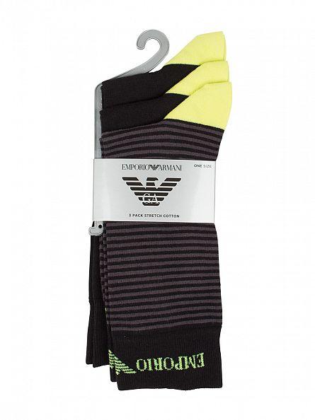 Emporio Armani Black/Green 3 Pack Stripe Cotton Stretch Socks