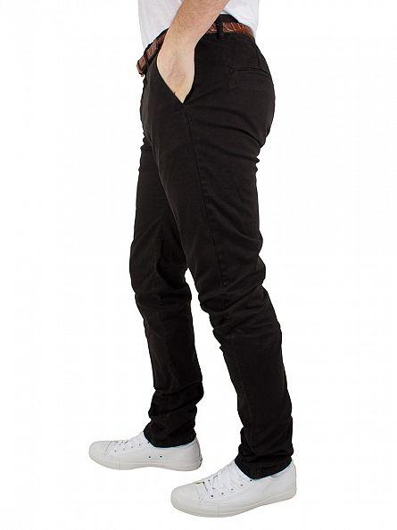 Scotch & Soda Black Stuart Regular Slim Fit Belted Chinos