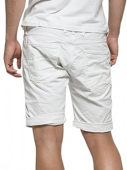 Replay White Anbass Slim Fit Shorts