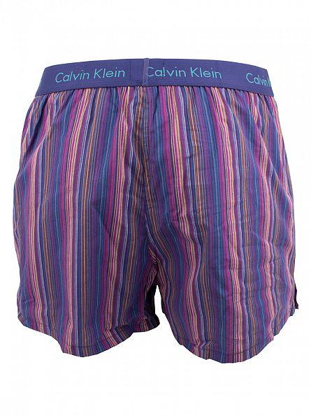 Calvin Klein Blue/Multi Woven Slim Fit Striped Boxers