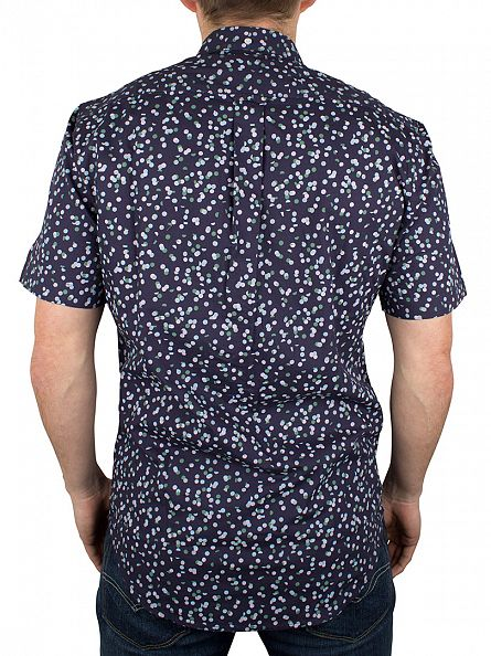 Farah Vintage Ink Blue Camble Slim Fit Shortsleeved Pattern Shirt
