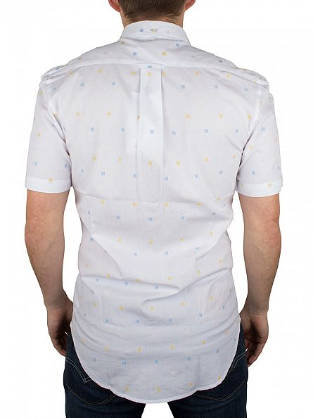 Farah Vintage White Heasman Shortsleeved Slim Fit Squares Shirt