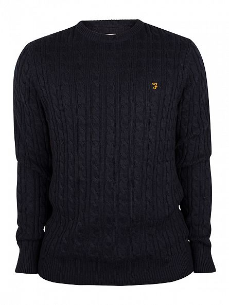 Farah Vintage True Navy Lewes Cable Knit Pullover