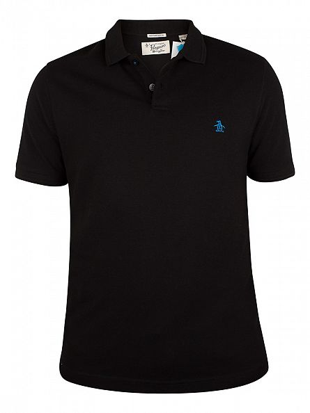 Original Penguin True Black Winston Slim Fit Logo Polo Shirt